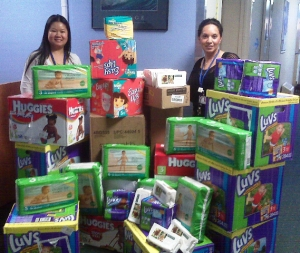 Brighter Beginnings Staff With Donated Diapers